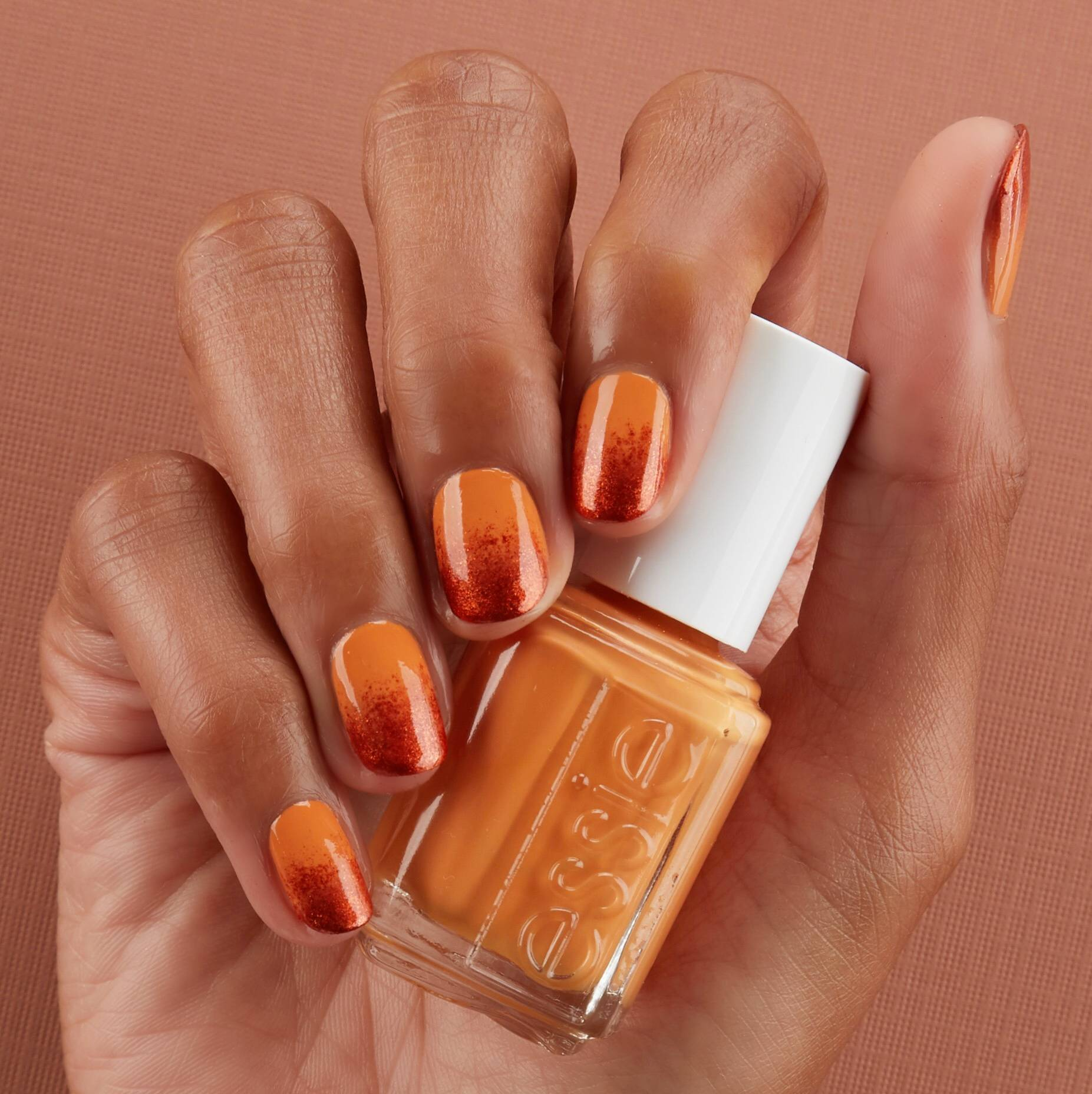 essie pumpkin spice ombre nail art - fall for nyc and say it ain't soho