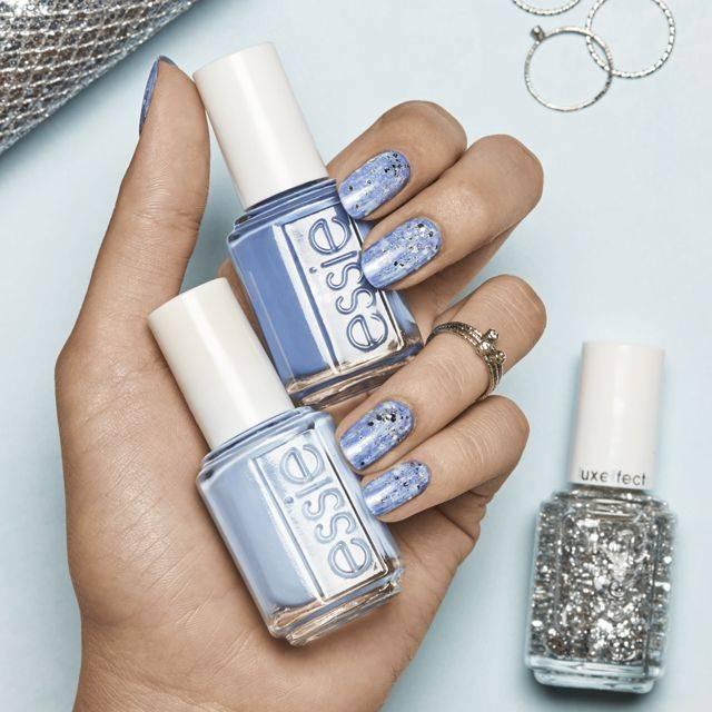 snowfall sparkle nail art design by essie
